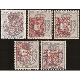 1883 ED. Cuba Telégrafos 58/62 *