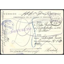 Tarjeta Postal de Campaña - Correspondencia con las Columnas de Operaciones
