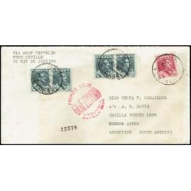 Graf Zeppelin A Brasil y reexpedido a Argentina ED. 321 [x4], 322