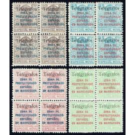 1937 ED. Marruecos Telégrafos 41E/41H ** [x4]