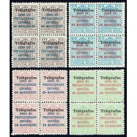 1937 ED. Marruecos Telégrafos 41A/41D ** [x4]