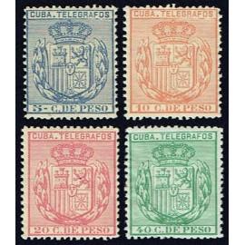 1892 ED. Cuba Telégrafos 73/76 **/*