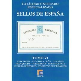 CATÁLOGO ESPECIALIZADO EDIFIL DE ESPAÑA TOMO VI