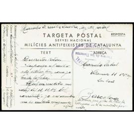Tarjeta Postal de Campaña - Milicias Antifascistas de Catalunya - Marca de Censura de Herrera de los Navarros (Zaragoza)