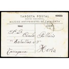 Tarjeta Postal de Campaña - Milicias Antifascistas de Catalunya - Marca de Censura de Lécera (Zaragoza)
