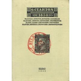 6 CUARTOS 1850 - PLANCHAS, DEFECTOS Y RETOQUES, MATASELLOS