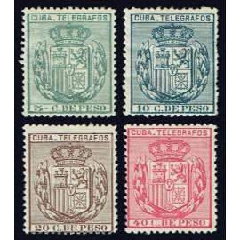 1896 ED. Cuba Telégrafos 81/84 *