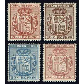 1894 ED. Cuba Telégrafos 77/80 *