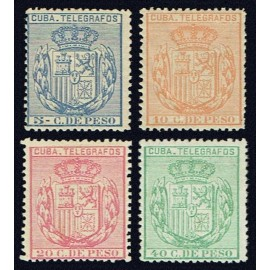 1892 ED. Cuba Telégrafos 73/76 * (2)