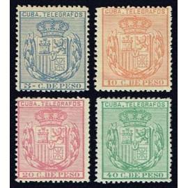 1892 ED. Cuba Telégrafos 73/76 *