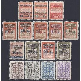 1929-41 ED. Barcelona - Telégrafos 1/3, 4/8, 9, 10/12, 13/16 *
