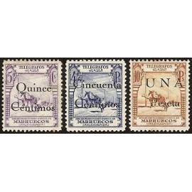 1935 ED. Marruecos Telégrafos 32/34 *
