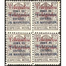 1935 ED. Marruecos Telégrafos 34Ahh ** [x4]
