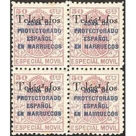 1935 ED. Marruecos Telégrafos 34Bhea * [x4]