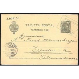 1907 ED. 21 us Enteros Postales Fernando Poo