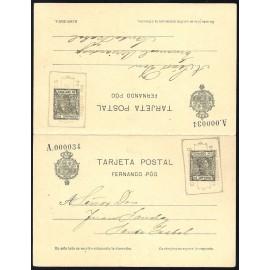 1907 ED. 22 MF Enteros Postales Fernando Poo
